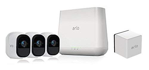 Arlo Pro by NETGEAR Security System with Siren - 3 Rechargeable Wire-Free HD Cameras with Audio, Indoor/Outdoor, Night Vision with Rechargeable Battery (Works with Amazon Alexa)