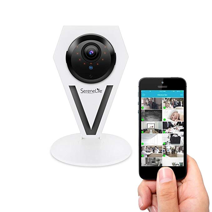 Mini Indoor Wireless IP Camera - HD 720p Network Security Surveillance Home Monitoring w/Motion Detection, Night Vision, 2 Way Audio, iPhone Android Mobile App - PC WiFi Access - SereneLife IPCAMHD12