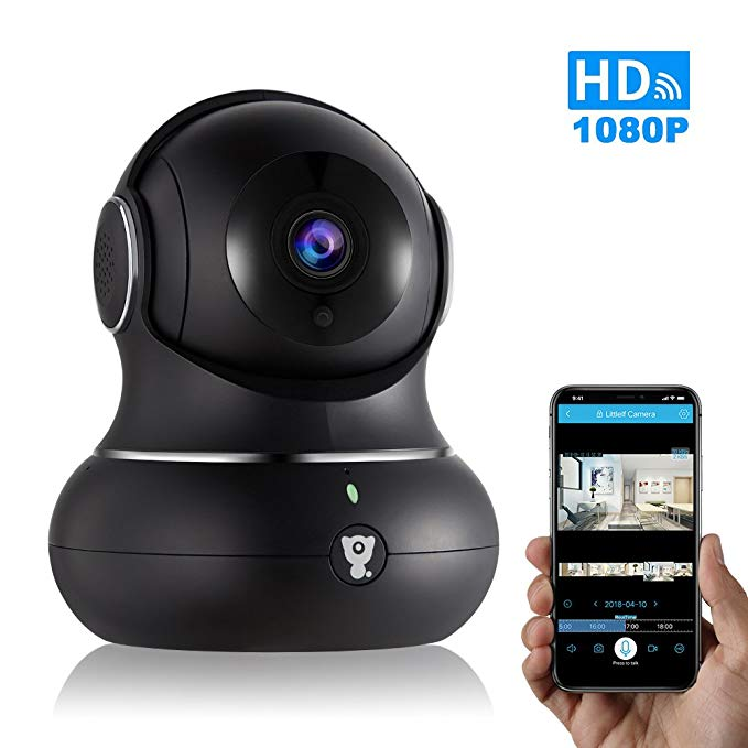 Wireless IP Indoor Security Camera - Littlelf WiFi Camera with 3D Navigation, Motion Detection, 2-Way Audio&Night Version for Pets/Nanny/Baby Monitor-Cloud Service Available(1080p)-Black