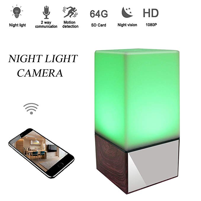 Hongsheng 1080P Night Light Hidden Spy Lamp Camera WiFi Baby Monitor HD Nanny Cam with Night Vision/Motion Detection/Real-Time View Security Camera for Home and Office …