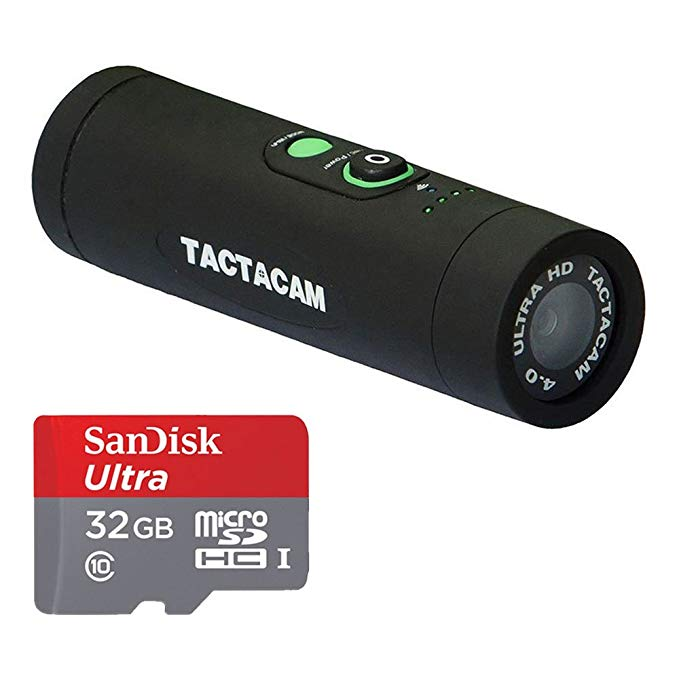 Tactacam 4.0 Hunting Action Camera with Custom Gun Mount + Wi-Fi & Tactacam App + SanDisk Ultra 32GB microSDHC UHS-I Card with Adapter + Valued Accessory Bundle