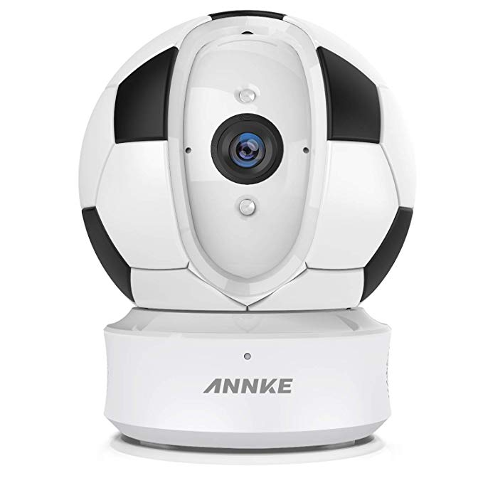 ANNKE Home Camera, 1080P HD Pan/Tilt Wi-Fi Wireless Security IP Camera with Football Silicone Skins, Work with Alexa (Echo Show/Fire TV), Google Assistant and IFTTT, Cloud Service Available
