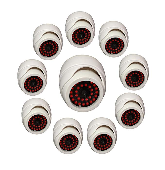 UniquExceptional - 10 PACK Indoor Dummy Fake White Dome Security Cameras with 30 Illuminating LED