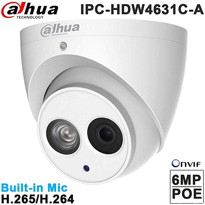 Dahua 6MP Dome Camera HDW4631C-A 2.8mm IP PoE Eyeball IP67 Bulit in Mic Indoor Network Dome Camera International Version