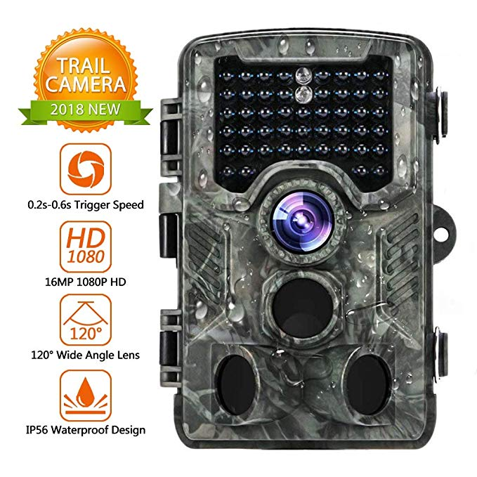 Trail Camera 16MP 1080P Hunting Camera with 2.4 inch LCD IP56 Waterproof 46 Infrared LEDs Night Vision Range 25 Yards 120°Wide Angle Lens Game Camera 0.2s-0.6s Triggering Time Wildlife Camera