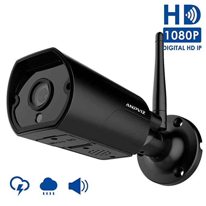 1080P Wireless security camera outdoor, Anpviz Wifi camera bullet weatherproof indoor and outdoor, 2 way Audio, suppport 128 Micro SD card (not included), come with power adapter(2018 New)