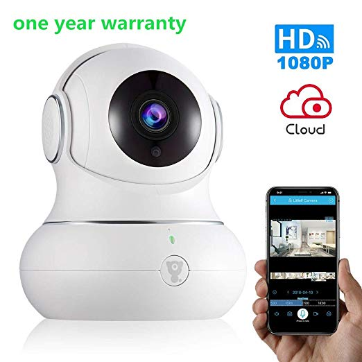 Wireless Baby Monitor WiFi IP Camera Security1080P with Night Vision for Home, Office, Shop, Kids, Pet Monitor with iOS, Android, PC App - Cloud Service Available (1080P White)