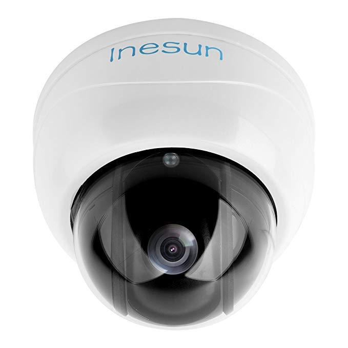 Inesun 1080p Dome IP Security Camera 2MP 4mm Pan/Tilt Security Video Surveillance 49ft IR Night Vision Motion Alert