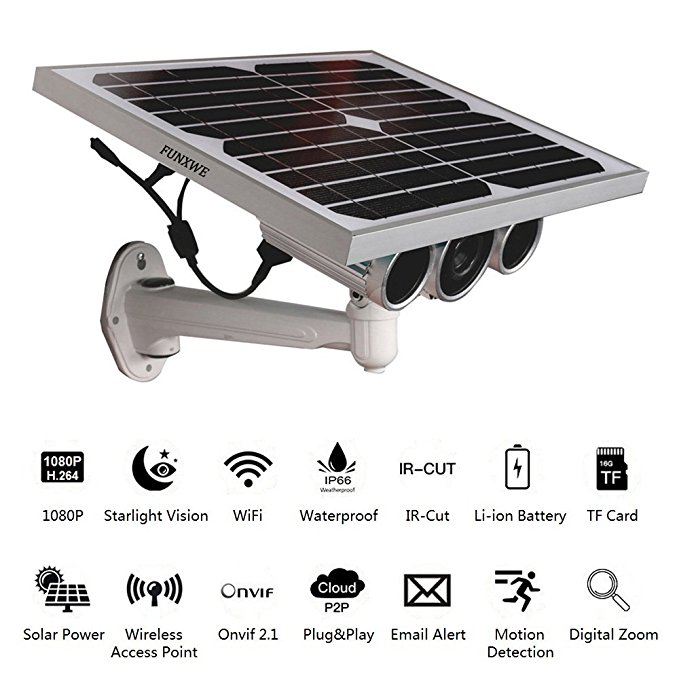 Funxwe 1080P Full-HD Solar Power WiFi IP Camera P2P Wireless AP Network 2.0 Megapixels Starlight Night Vision Outdoor Battery Powered