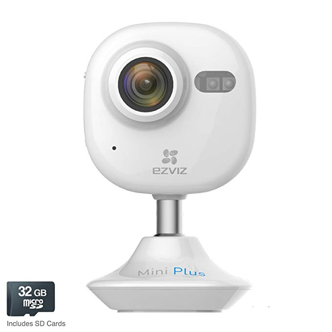 EZVIZ Mini Plus HD 1080p Wi-Fi Video Security Camera, 32GB MicroSD, Compatible with Alexa – White