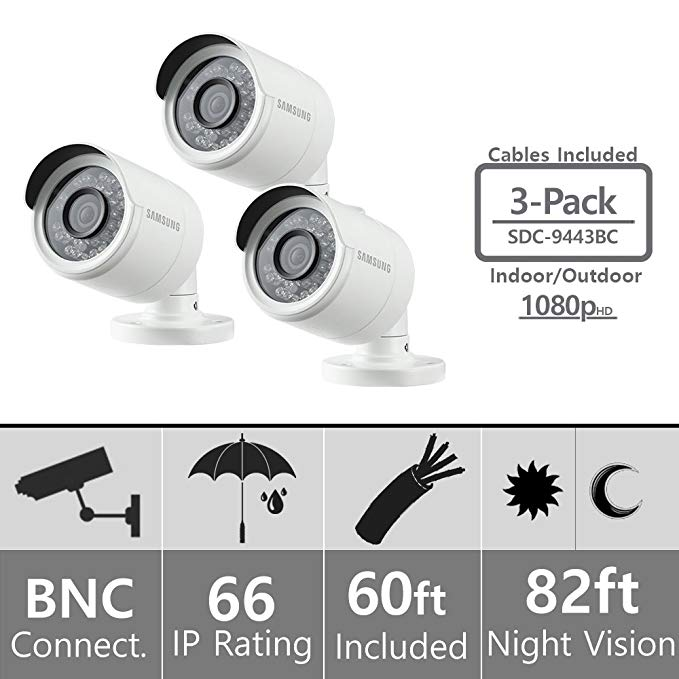 (Set of 3) Samsung SDC-9443BC 1080p HD Weatherproof Bullet Camera (Compatible with SDH-B74041 & SDH-B74081)