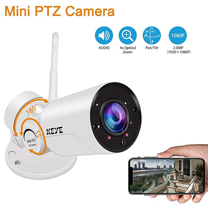KEYE IP Camera Bullet 1080P HD Waterproof Home Security Surveillance Mini PTZ Camera with IR Night Vision, Motion Detection and Push Alerts for Android/iOS/PC