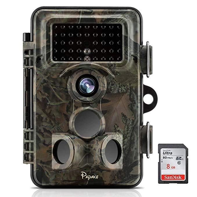 """Papake Trail Game Camera 12MP 1080P HD Hunting Camera 120° Wide Angle for Surveillance Scouting with 850nm Night Vision 3 Zone Infrared Sensor, 0.4S Trigger Speed 46 Pcs IR LEDs 2.1""""LCD Screen"""