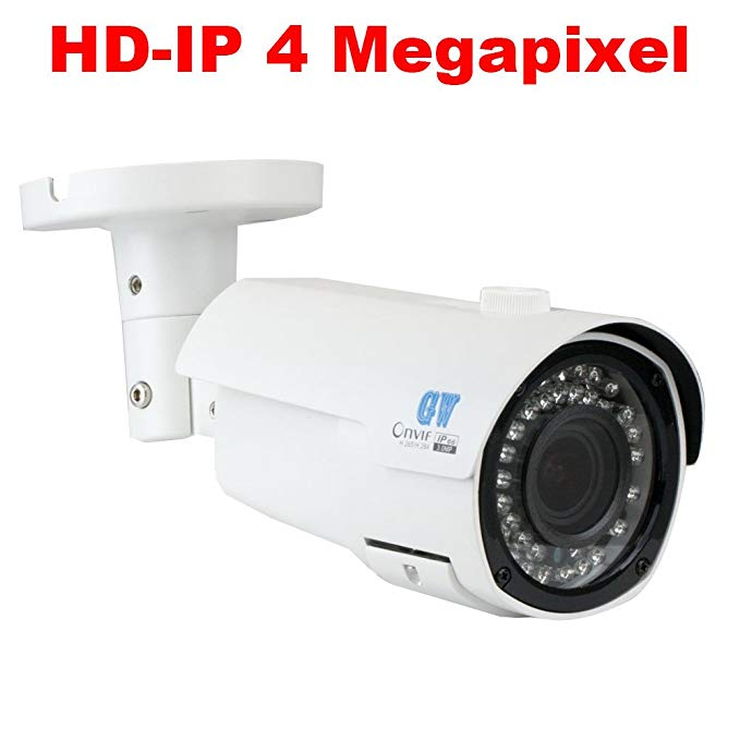 GW Security 4-Megapixel (2592 x 1520P) 4X Optical Zoom Outdoor 1080P PoE Security IP Camera with 2.8-12mm Varifocal Motorized Zoom Len and 42Pcs IR LED up to 130FT IR Distance