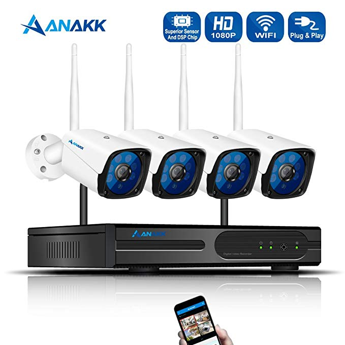 Anakk 4 Channel Wireless Security Camera System CCTV NVR Kit HD 1080P Bullet IP Cameras Waterproof Outdoor Indoor Home Surveillance Motion Detection Remote View(NO Hard Drive)