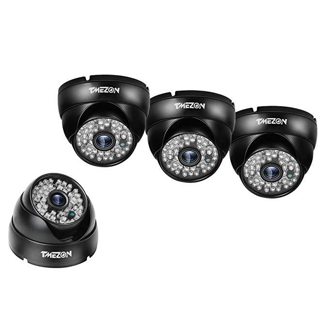 TMEZON 4 Pack AHD Camera 1080P Security Camera 2.0 Megapixel 2000TVL Night Vision 3.6mm Outdoor 48 IR LEDs Day Night Vision with OSD Menu