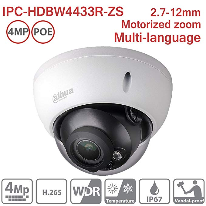 Dahua 4MP Dome IP Camera IPC-HDBW4433R-ZS 2.7-12mm Motorized Varifocal IP PoE IR Indoor Network Camera ONVIF H.265 IP67 International Version