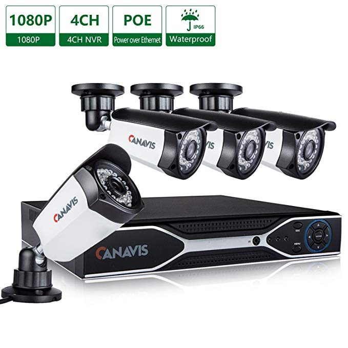 CANAVIS 4 Channel PoE NVR, 2 Megapixel (1920 x 1080p) Security Camera System 4 2MP Weatherproof Bullet IP Surveillance Cameras, 115ft Night Vision, No Hard Drive