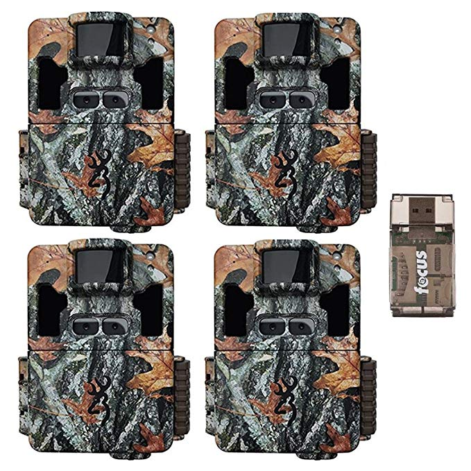 Four Browning Dark Ops Pro XD Dual Lens 24MP 1080p Trail Cameras with Focus USB Reader