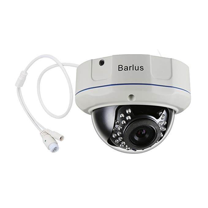 Barlus IK10 1080P POE IP Dome Camera Indoor/Outdoor Weatherproof Security Camera,Supports TF card for storing sound and images, Max 64GB(Does Not Include TF Card)
