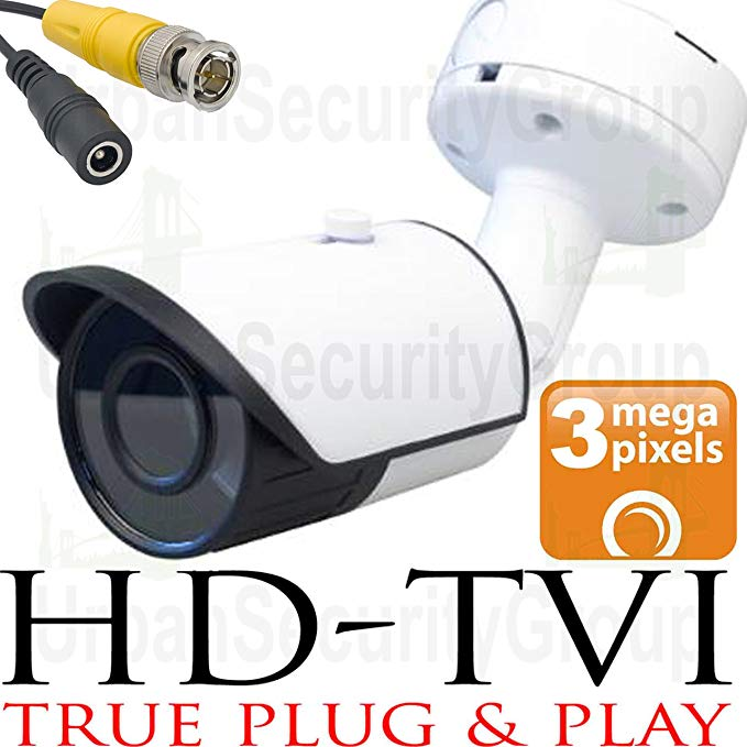 USG 3MP 2048x1536 Bullet Security Camera : 2.8mm Wide Angle HD Lens : Weatherproof Vandal-proof : 24x IR LEDs : BNC Connector : Deep Extension Mount Box : Works With HD-TVI, Analog + AHD DVRs