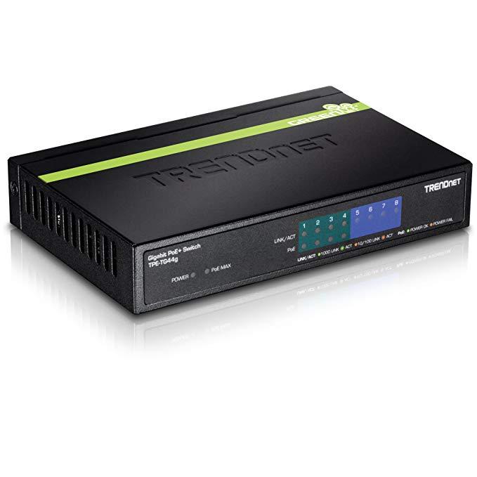TRENDnet 8-Port Gigabit PoE+ Switch, 4 x Gigabit PoE/PoE+ Ports (Up to 30 Watts/Port), 4 x Gigabit Ports, 61.6W PoE Power Budget, 16 Gbps Switching Capacity, Lifetime Protection, TPE-TG44G