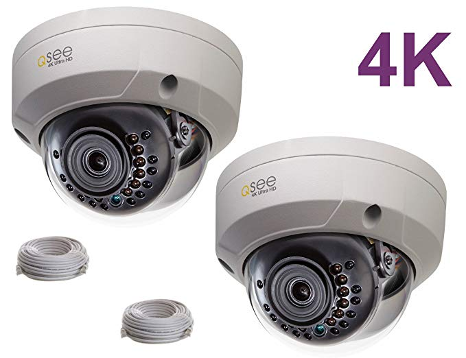 Q-See 4K 8MP HD QC IP Series Dome Security Camera with Night Vision and H.265+ (2-pack QCN8096D)