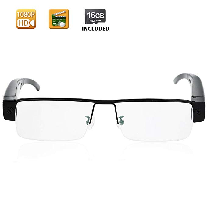 WISEUP 1080P HD Spy Eye Glasses Camera - Covert Video Camera Glasses with 16GB Memory Card Built-in