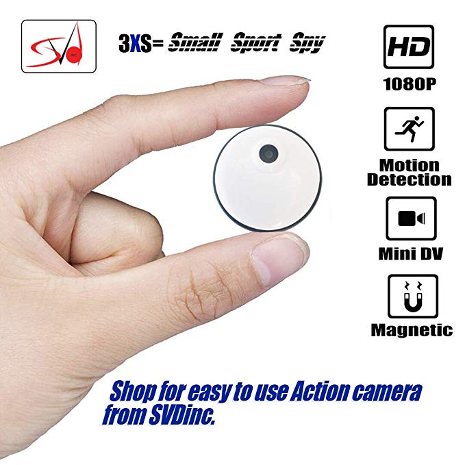 SVD Inc. Mini Wireless Spy Camera/Sports Camera Recorder, 1080P HD, Built-in Battery. 8GB Memory Loop Recording with Motion Detector. with Free Bicycle/Bike Mount. for Home, Sports, Car, Office etc.