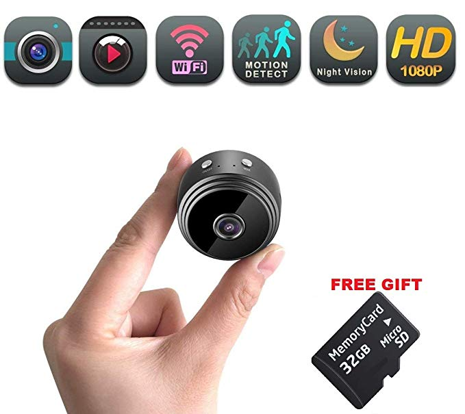 Mini Spy Camera WiFi | Hidden Magnetic Camera | Free 32 gb Micro SD Card | Nanny Pet Body Dash Spy Cam | by DENT PRODUCTS