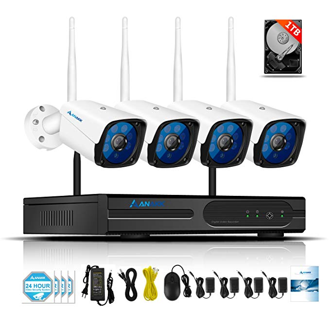 Anakk 4 Channel Wireless Security Camera System CCTV NVR Kit HD 1080P Bullet IP Cameras Waterproof Outdoor Indoor Home Surveillance Motion Detection Remote View(1TB Hard Drive)