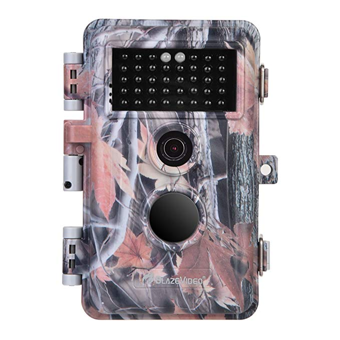 BlazeVideo 16MP Photo 1080P Game Trail Hunting Camera Wildlife Deer Cam No Glow Infrared Motion Sensor Activated IP66 Waterproof with 65ft Night Vision 38pcs IR LEDs, 2.4